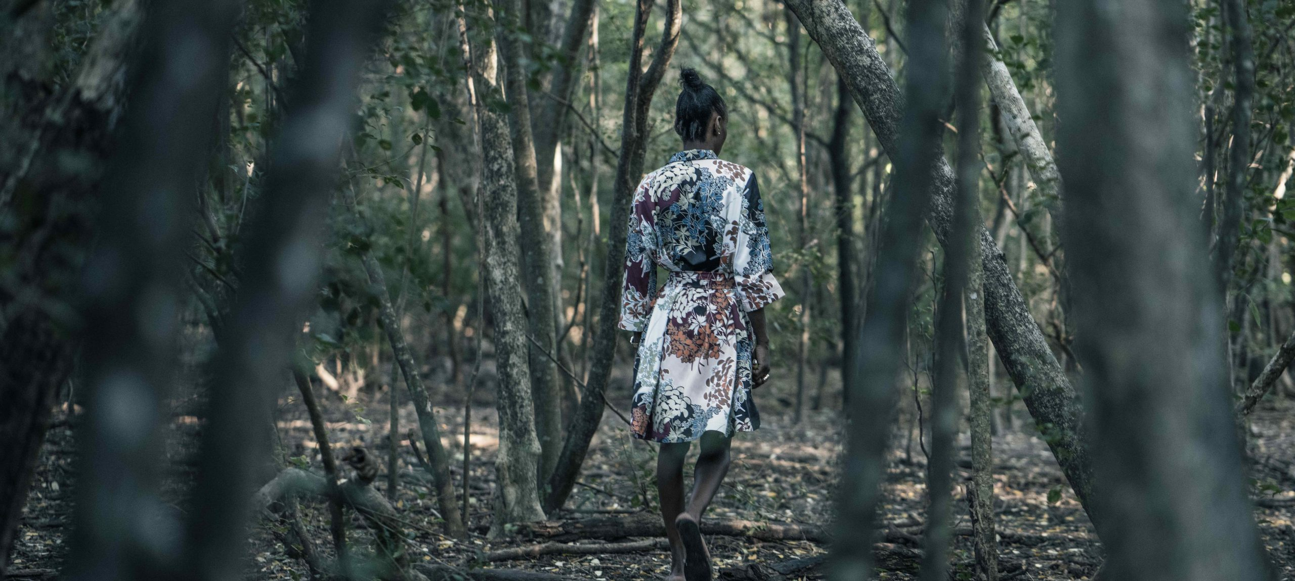 model mica wearing kimono in a forest