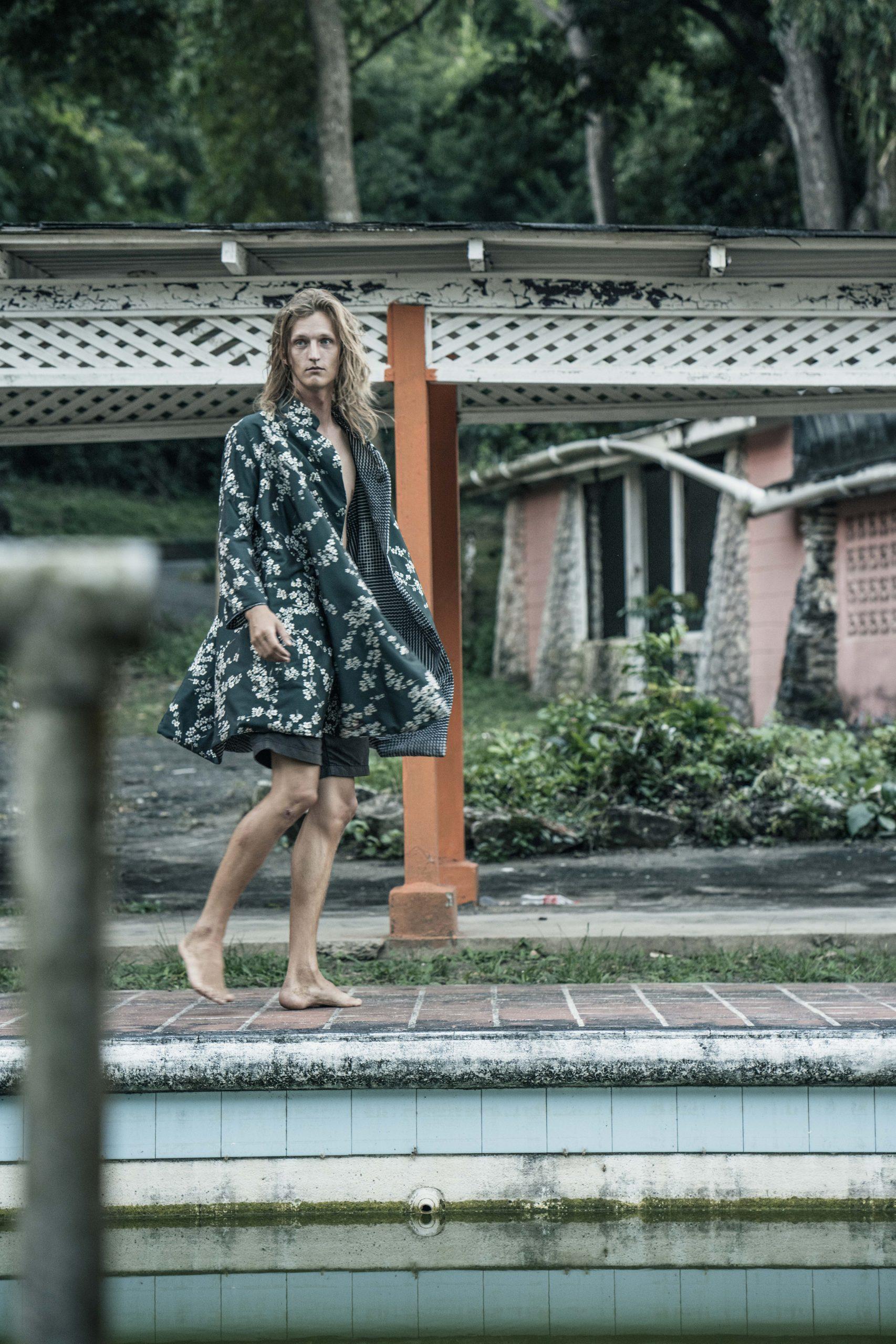 model nik in green floral kimono